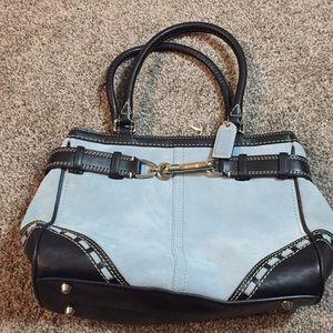 Coach Hampton's belted blue suede satchel